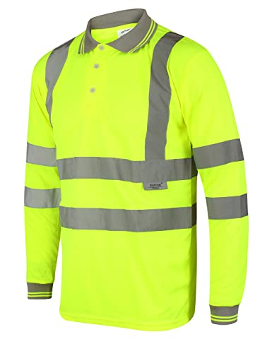 HuntaDeal Hi Viz VIS High Visibility Polo Shirt 2 Tone Reflective Tape Safety Security Work Button T-Shirt Breathable Lightweight Double Tape Workwear Top Plus Big Size EN ISO 20471