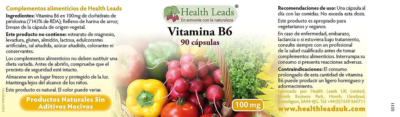 Vitamina B6 100mg x 90 cápsulas (no estearato de magnesio): Amazon.es: Salud y cuidado personal