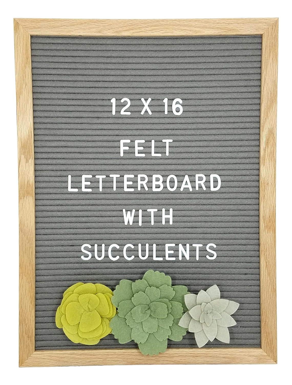 Letter Board –374 Letters, 3 Felt Succulents, Wall Mount & Canvas Bag | Word Board | Letterboard | Sign Board | Changeable Felt Message Board | Marquee Sign | Felt Board (Gray, 12 x 16) ZDC