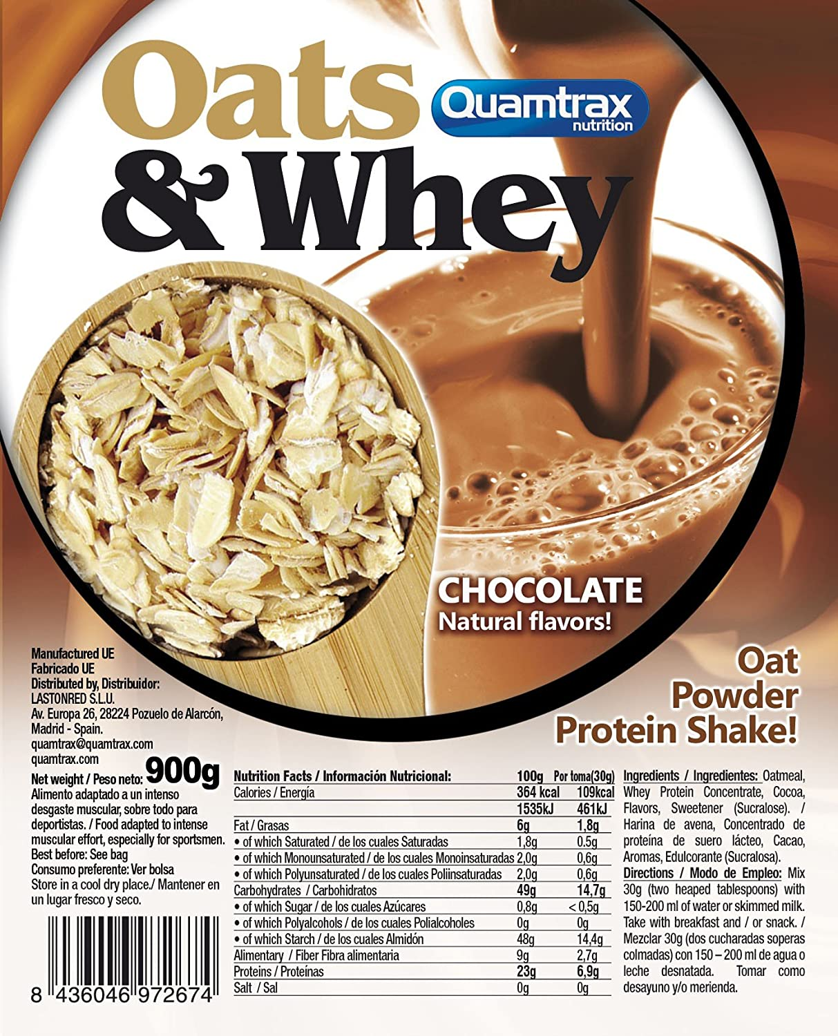 Oats & Whey (Avena con proteína) 900 g - Chocolate: Amazon ...