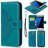 Funda para Samsung Galaxy S7 Edge, Carcasa Libro de Cuero Impresión de Flor PU Premium y TPU Funda Interna (2 en 1, Separable), Wallet Case Cover con Soporte Plegable, Ranuras para Tarjetas y Billetes - Azul