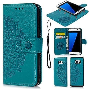 Geniric Funda S7 Edge, Carcasa Libro de Cuero Impresión de Flor PU Premium y TPU Funda Interna (2 en 1, Separable), Wallet Case Cover - Azul