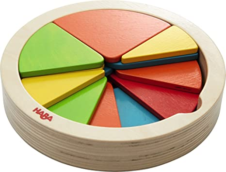 amazon com haba color pie 27 piece wooden arranging game with