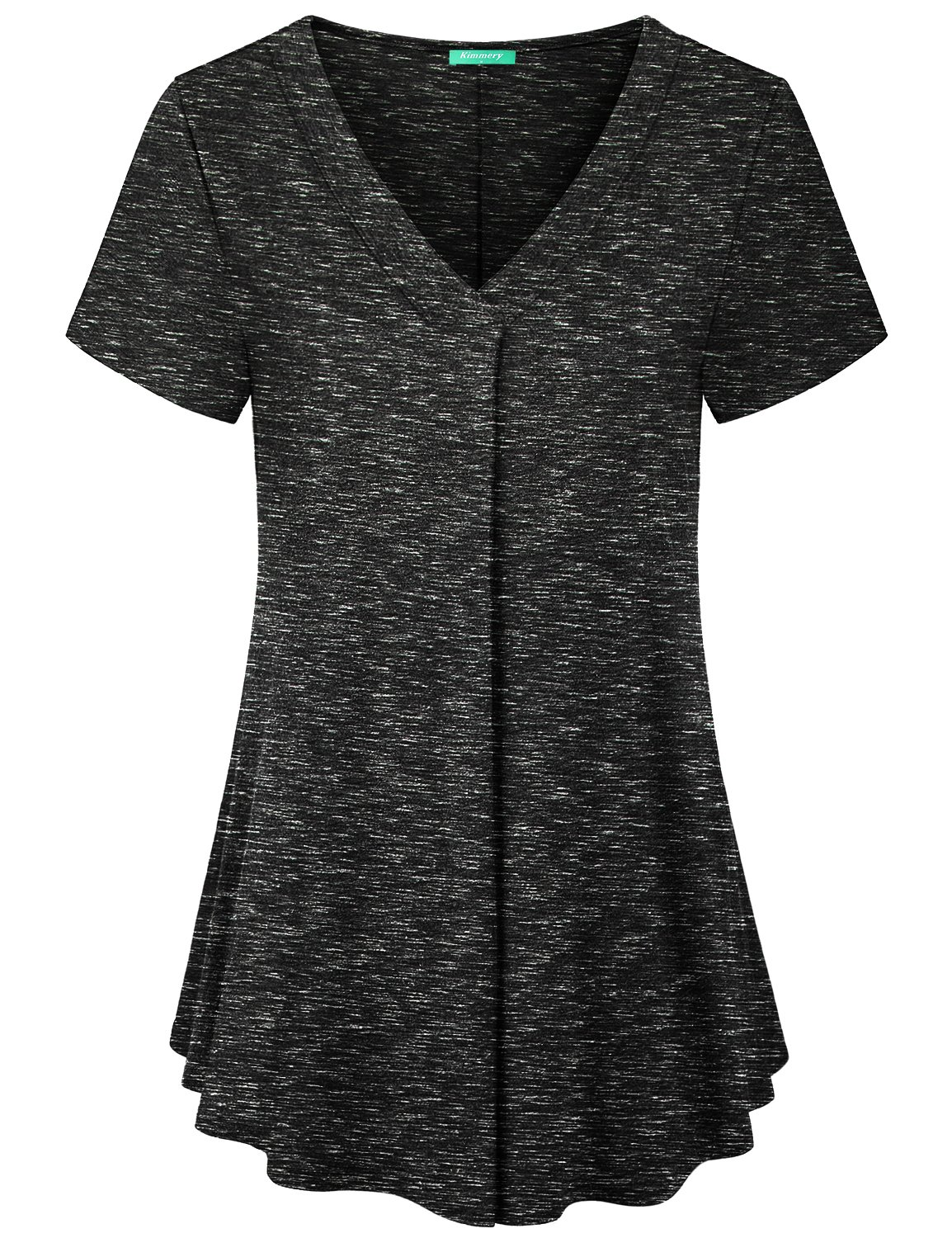 Kimmery Office Shirts for Women, Casual Jersey Blouses Short Sleeve Henley V Neck Flared Hem Pleating Tops Loose Fitting Boutique Clothing Delicate Well Made Trapeze Tunics Space Dye Black X Large.