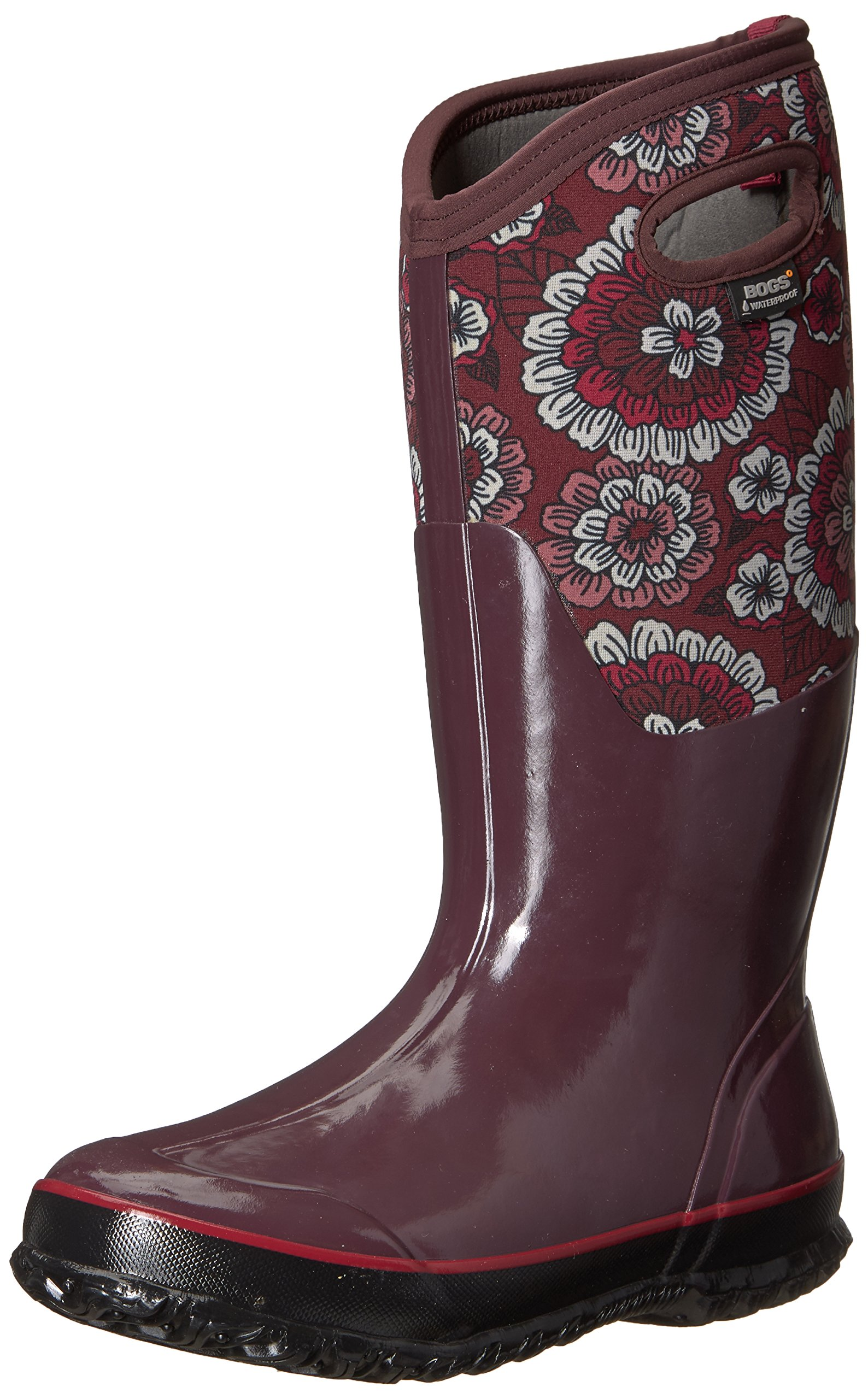 Bogs Women's Classic Pansies Snow Boot, Berry Multi, 8 M US by Bogs