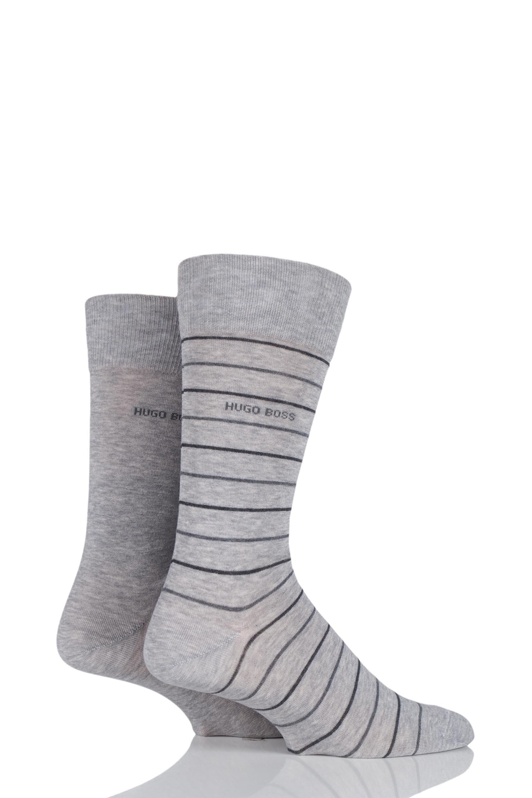 Mens 2 Pair Hugo Boss Fine Striped and Plain Mercerised Cotton Socks Silver 5.5-8