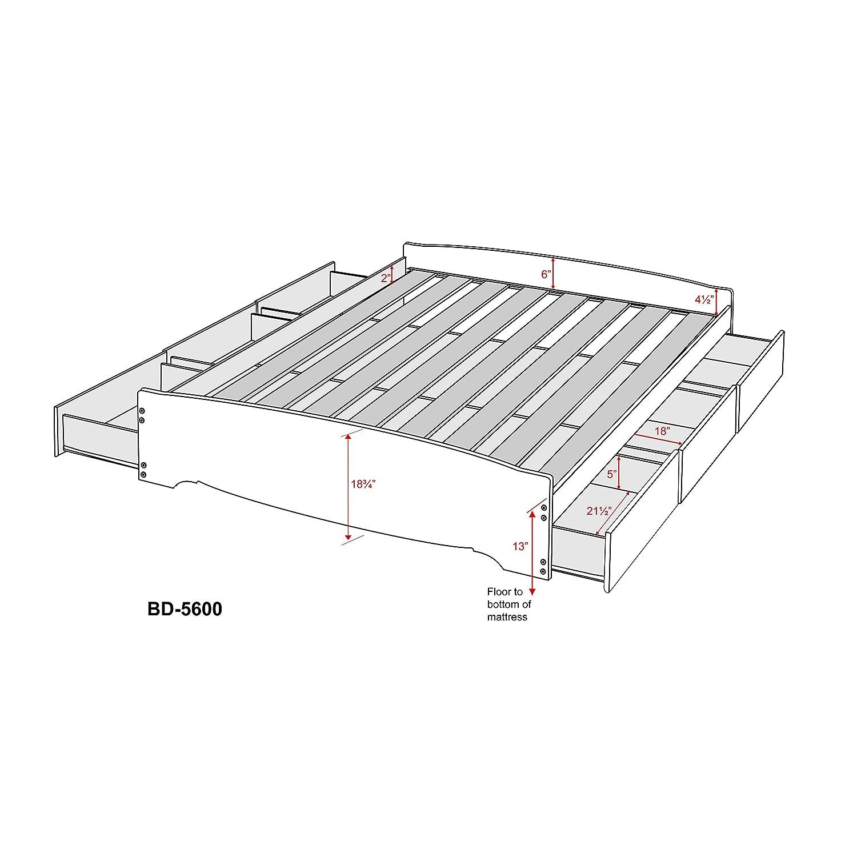 Prepac Full/doble plataforma de almacenamiento de 6 cajones cama: Amazon.es: Juguetes y juegos