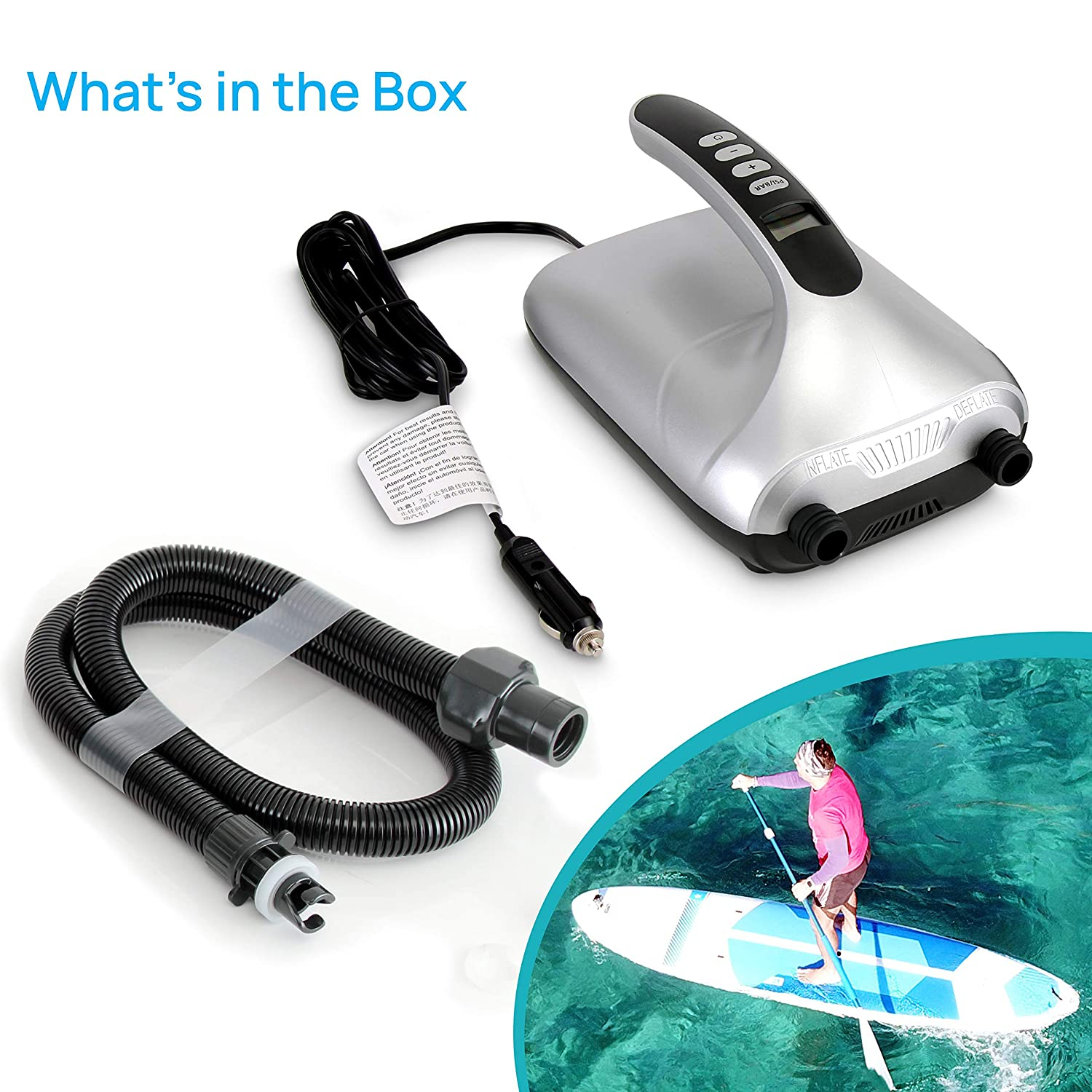 Digital Electric Air Pump Compressor For Inflatable SUP Stand Up Paddle Board // Boat 110W 12 Volt Quick Air Inflator // Deflator w// LCD Water Sports Inflatables SereneLife SLPUMP30 0-20 PSI