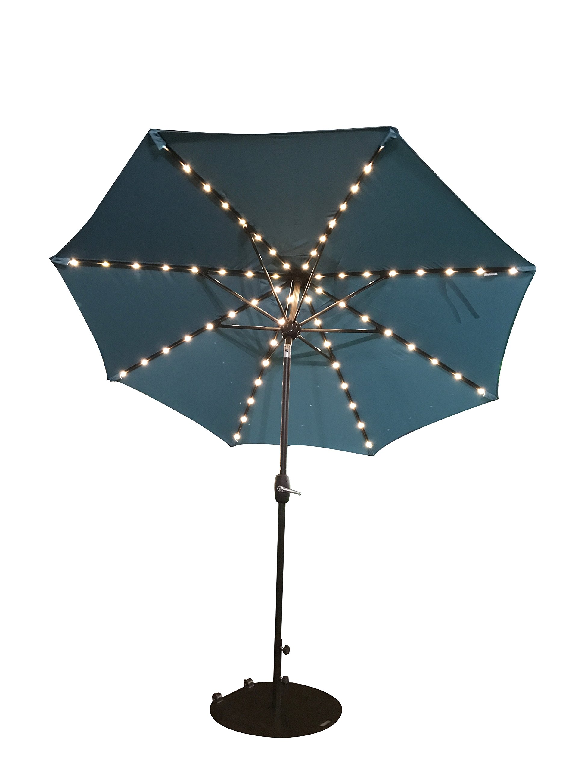 SORARA Patio Umbrella with Solar Powered 64 LED Lights Market Outdoor Umbrella with Tilt&Crank&Umbrella Cover, 9 Feet, Turquoise