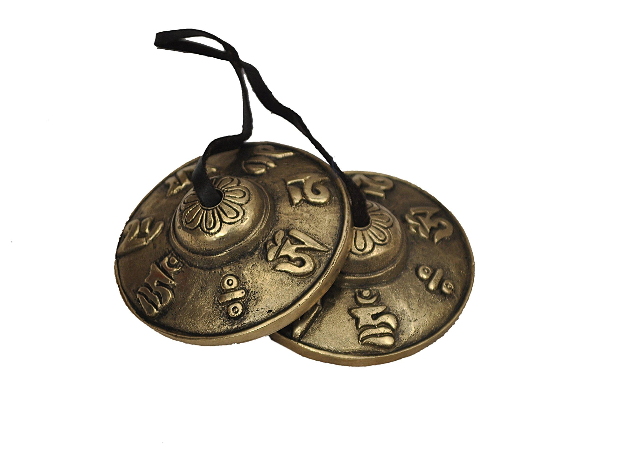 Dharma Store - Tibetan Tingsha Cymbals - 6.6 cm - OM Mane Padme Hum Symbols Embossed by Dharma Store