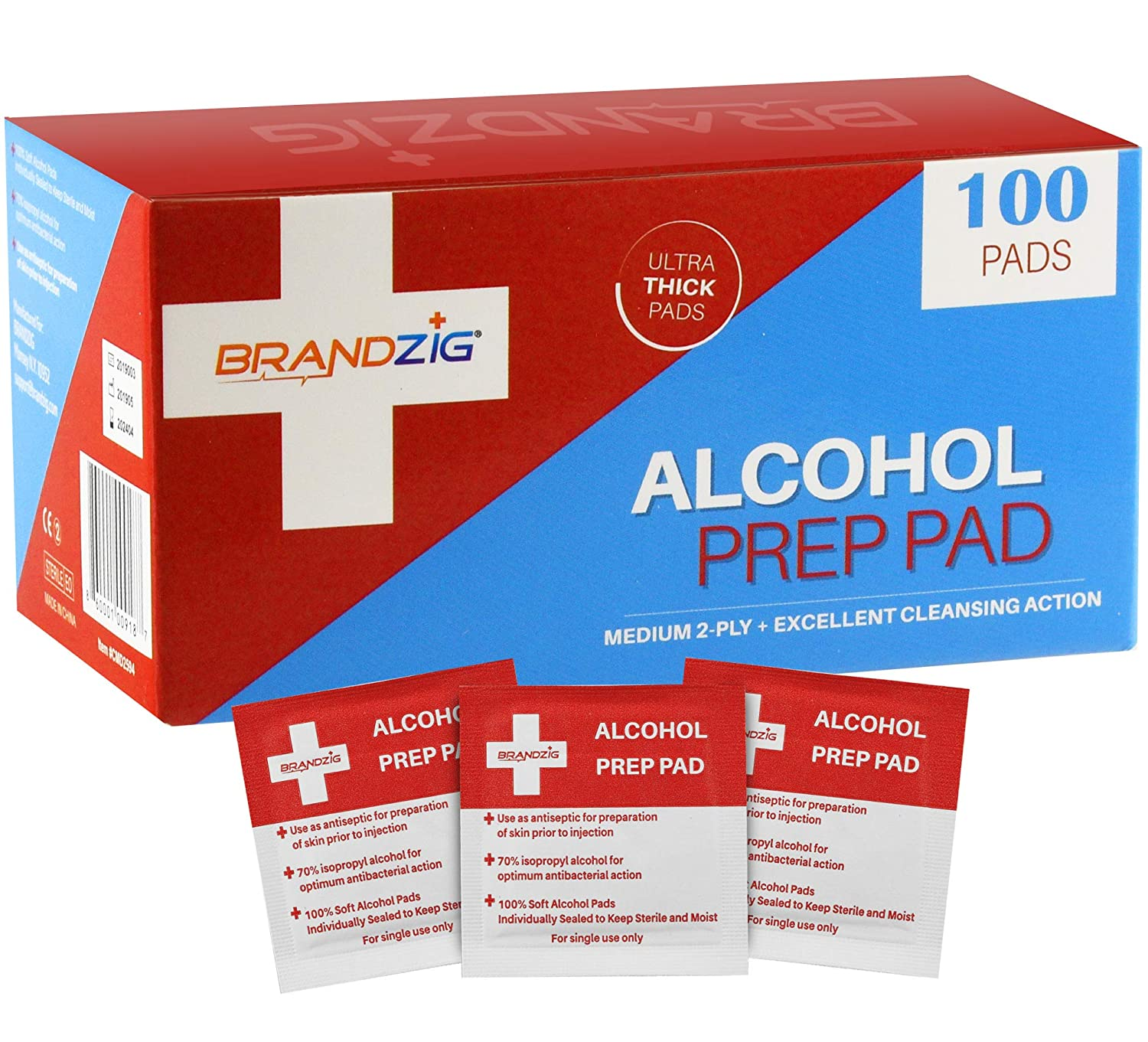 Alcohol Prep Pads (100-Pack) | Thick 2-Ply Sanitizing Isopropyl Medical Wipes | Individually Wrapped Alcohol Cleansing Swabs, Diabetic Supplies, Hospitals : Beauty