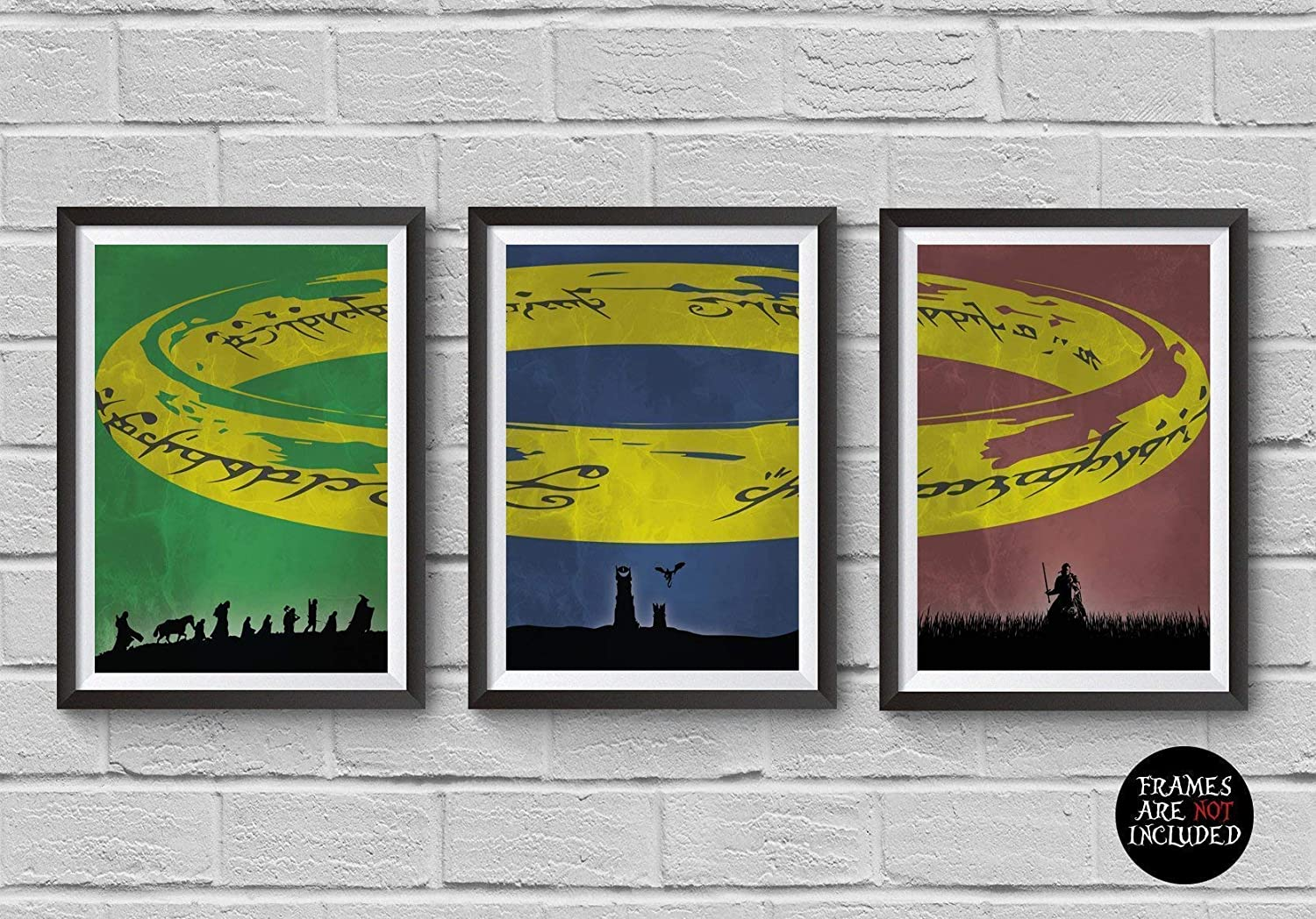 The Lord of the Rings Trilogy Poster Set The Lord of the Rings Minimalist Movie Print Artwork Wall Art Home Decor Wall Hanging The Fellowship of the Ring The Two Towers The Return of the King