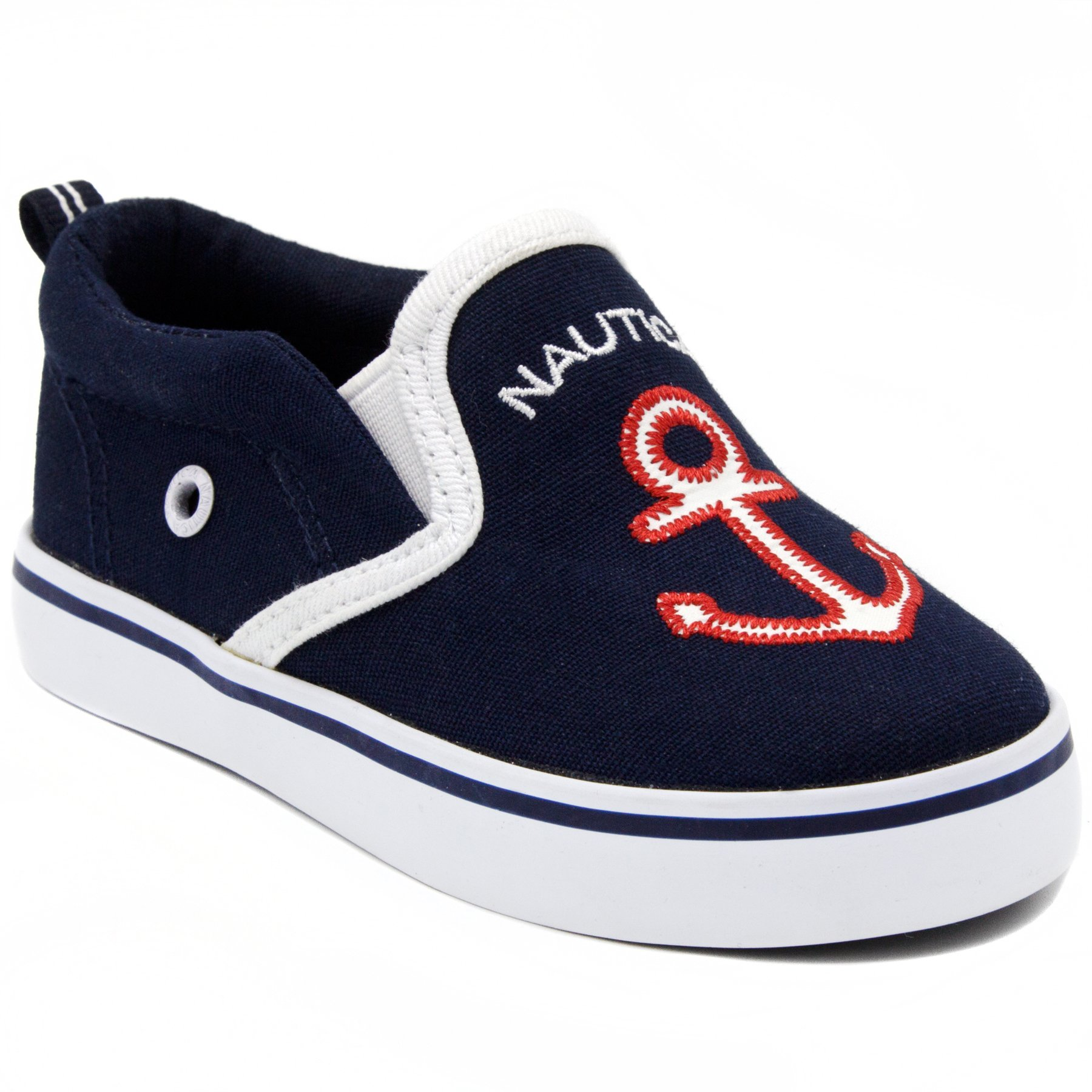 Nautica Akeley Toddler Canvas Sneaker Slip-On Casual Shoes-Navy Anchor-8