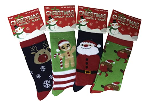 6db000dbac33 Kids/Childrens 4 Pack Thin Colourful Fun Cotton Rich Novelty Xmas Christmas  Socks 3 Sizes (12-3 UK): Amazon.co.uk: Clothing