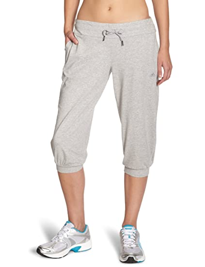 16d9875943aa11 adidas Damen 3 4 Hose Essentials Knit Pants Medium Grey Heather