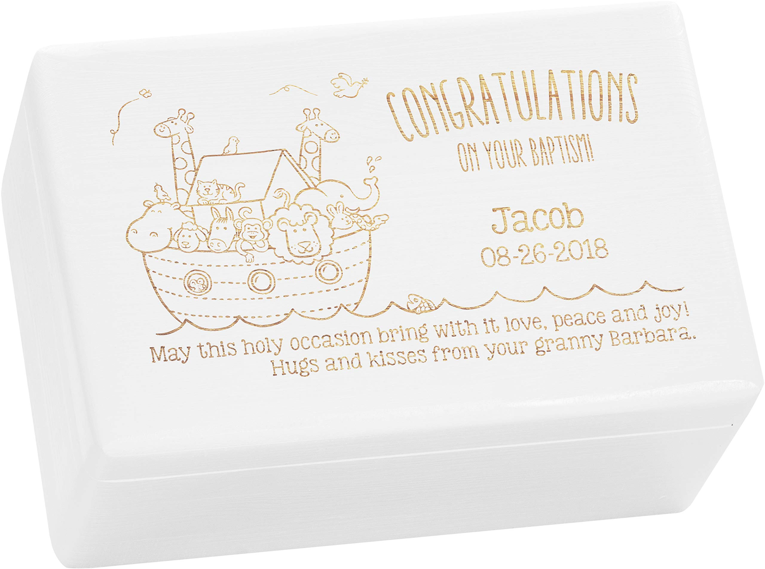 LAUBLUST Engraved Wooden Gift Box - Size L, 12x8x6in - ❤️ Personalized ❤️ Baptism Keepsake Box - Noah's Ark | Painted White - Made in Germany