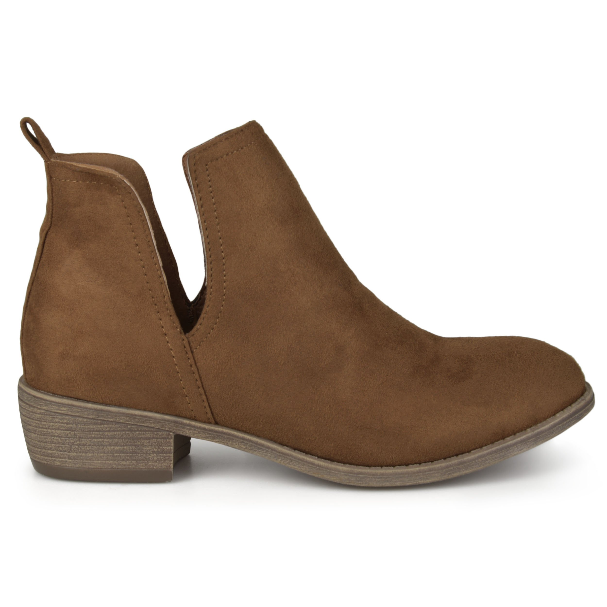 Brinley Co. Womens Faux Suede Cut-Out Round Toe Boots Camel, 9 Wide Width US