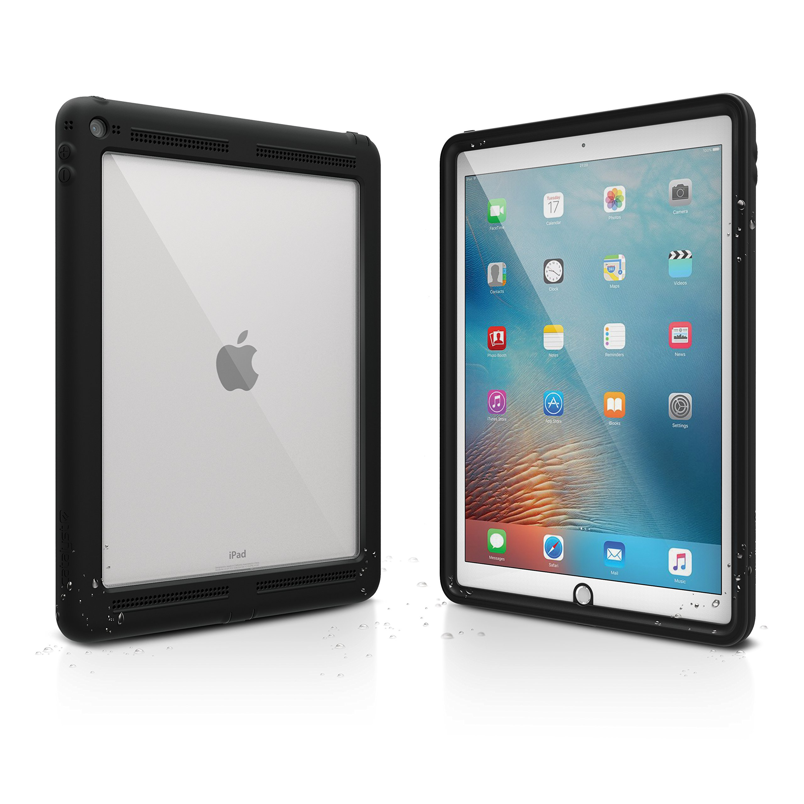 Catalyst Premium Quality Waterproof Shockproof Case for Apple 12.9'' iPad Pro (2015) - Stealth Black with High Touch Sensitivity ID and Multi Position Stand