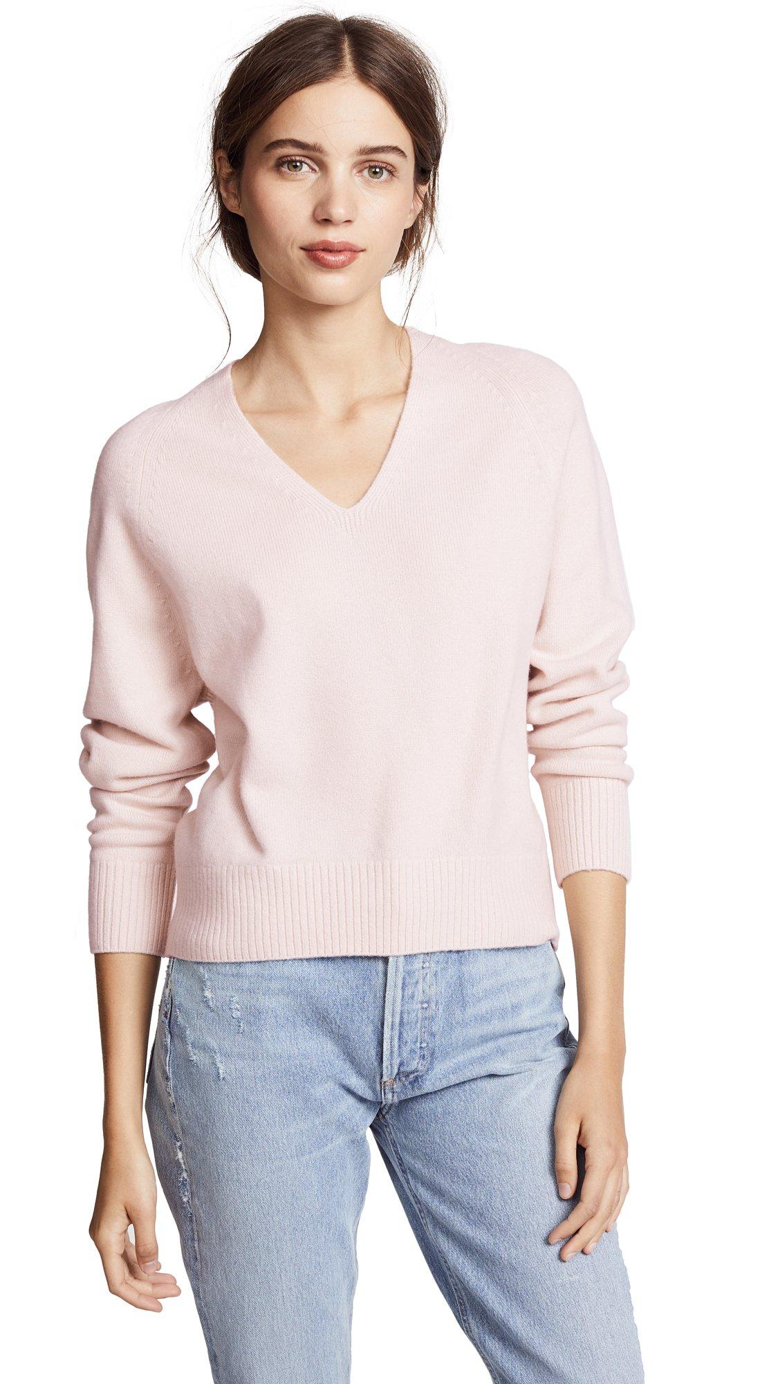 Vince Women's Deep V Neck Cashmere Sweater, Sandstone, Medium