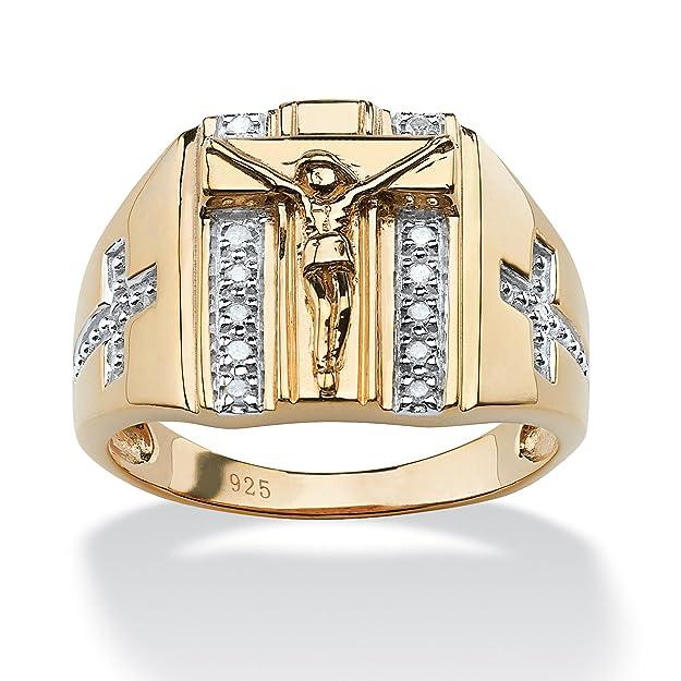 Anillo para hombre Oro de 18k sobre plata de ley detalles de diamanteshttps://amzn.to/2VQmRyX
