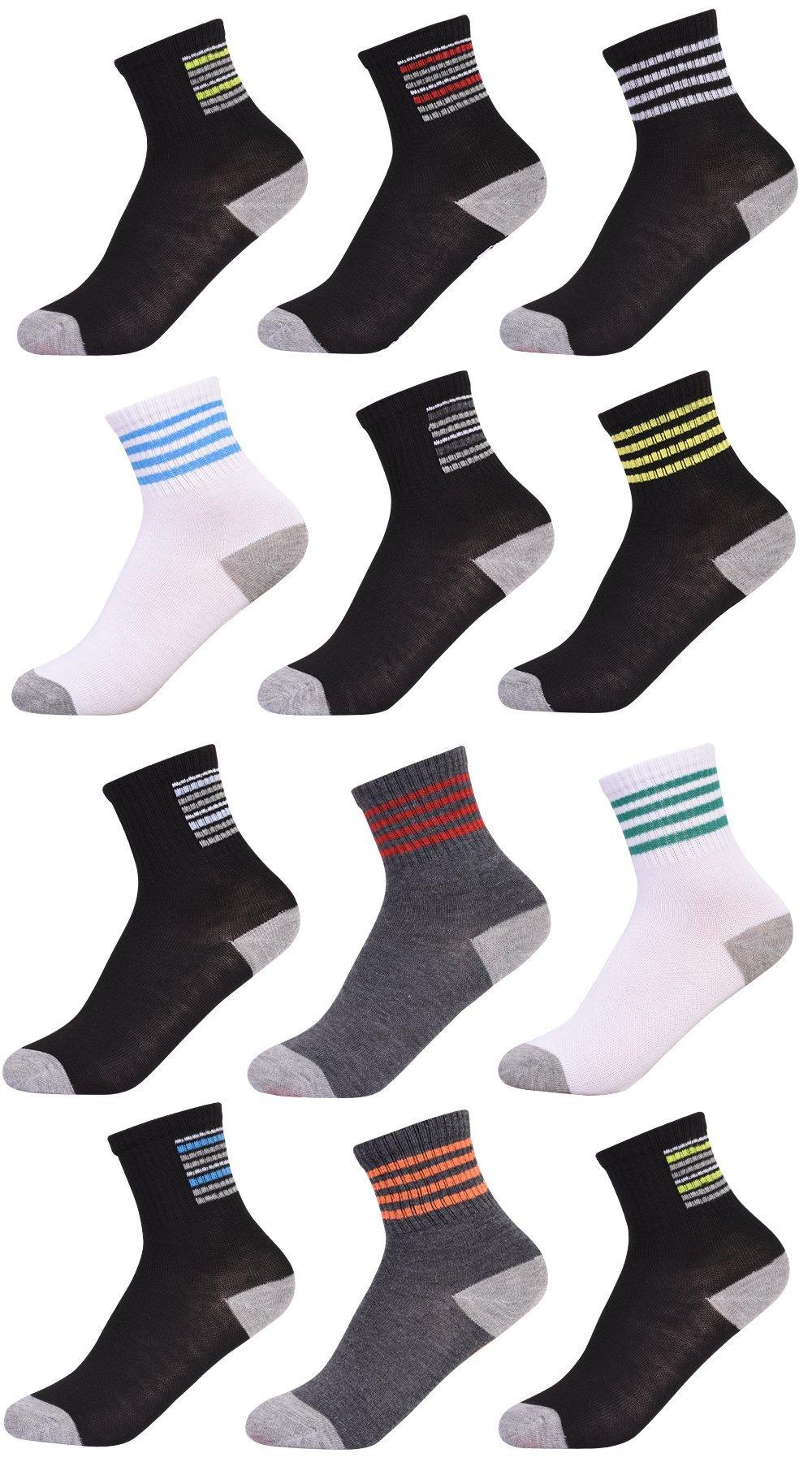 'Heelys Boys 12 Pack Crew Socks, Dark Multi, Size 9-11'