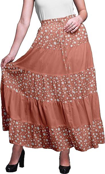 Bimba Faldas Mujer Bohemio Gitano 5 Niveles de algodón Estampado ...