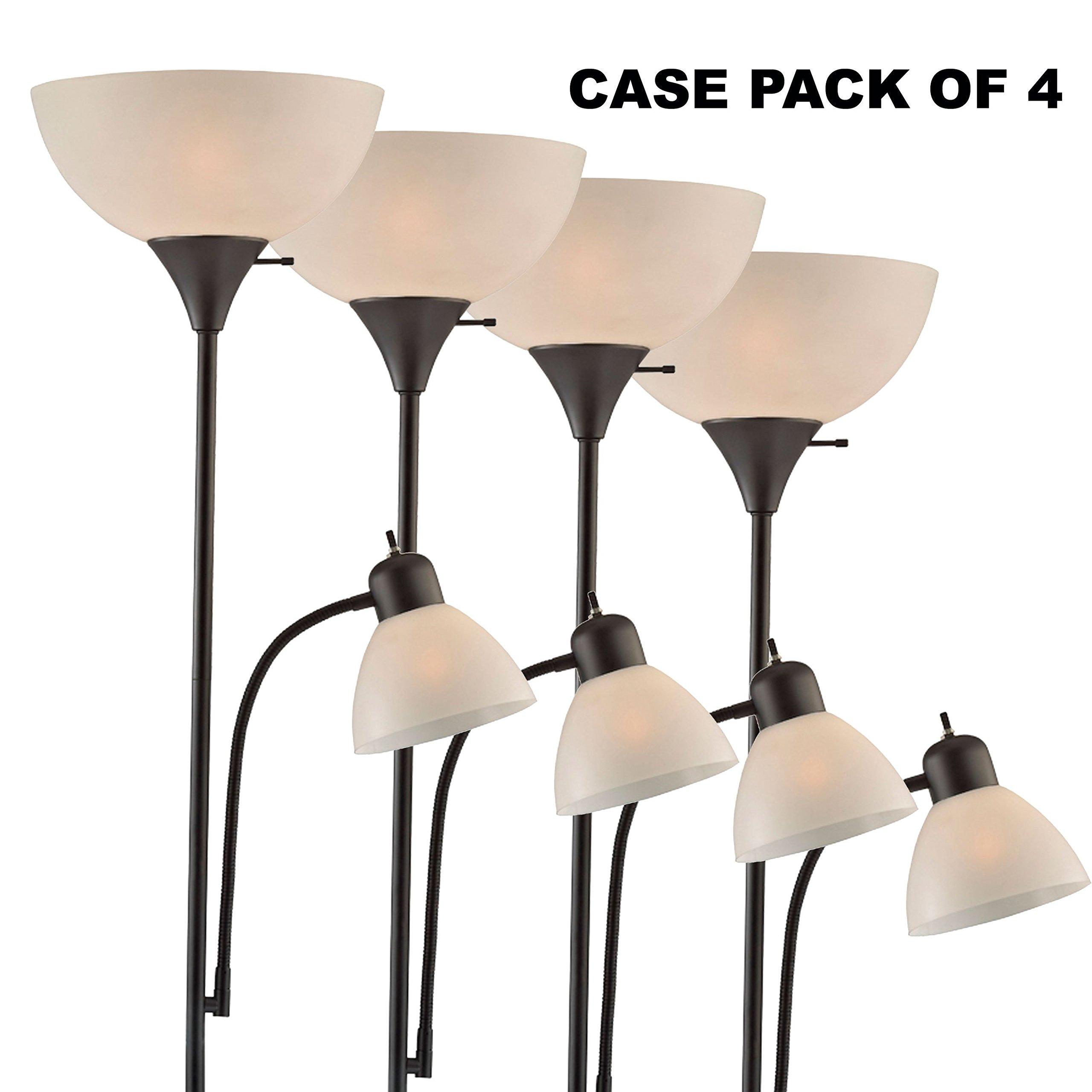 Light Accents 150 Watt Floor Lamp with Side Reading Light - Floor Lamps - Dorm Room Floor Lamp - Floor Lamps for Bedrooms - Kids Floor Lamp - College Floor Lamp (Black (Case of 4))