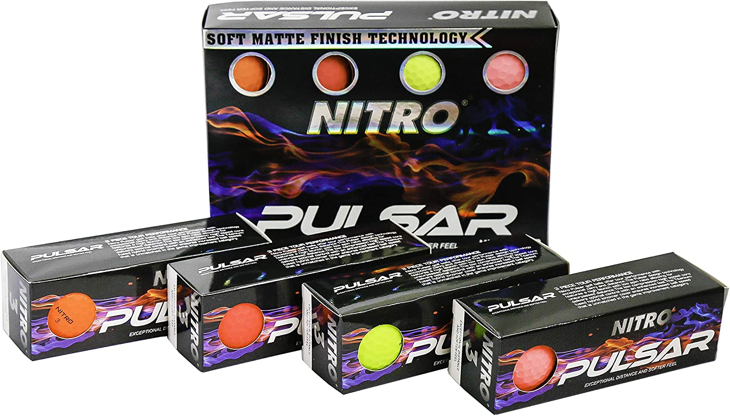 Nitro Pulsar Box Golf Balls (Pack 12)