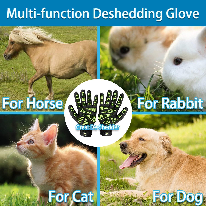 Bikien Pet Grooming Gloves, Dog Horse and Cat Hair Removal Gloves, Enhanced Five Finger Design, 330 Soft Rubber for Shedding, Bathing, Massaging & Hair Removal