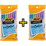 BIC Round Stic Grip Xtra Comfort Fashion Ballpoint Pens, Assorted Fashion Colors, Pack of 16