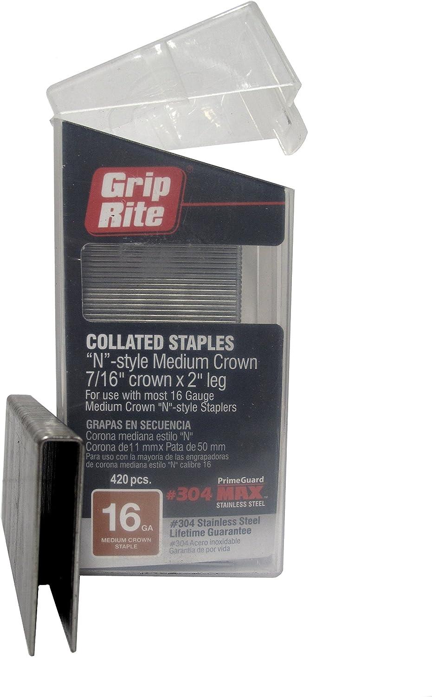 Pack of 420 Grip Rite Prime Guard MAXB64892 16-Gauge 7//16 Medium Crown by 2 304-Stainless Steel Staples in Belt Clip Box