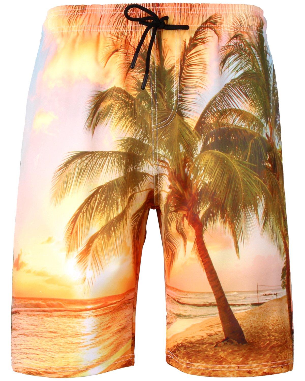 HENGAO Men's Hawaiian Coconut Tree Print Swimtrunks Board Shorts with Lining, C101, 6XL
