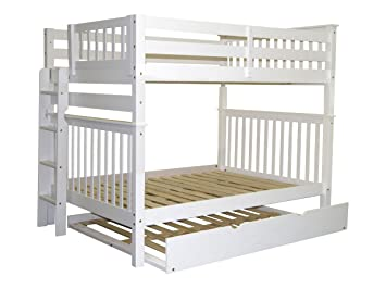 Bedz King Bunk Beds Full Over Mission Style With End Ladder And A Trundle