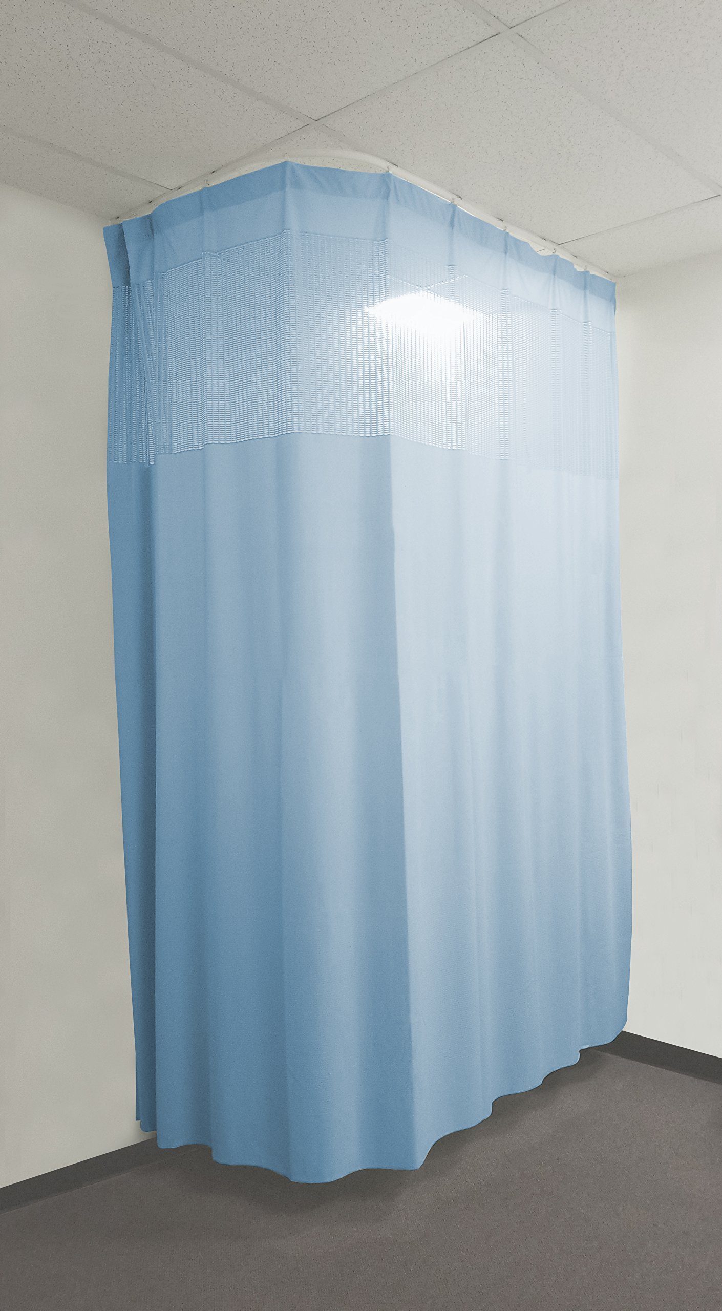 16ft Blue Medical Curtains Hospital Lab Clinic Room Decorative w/ Track- 9.5ft High