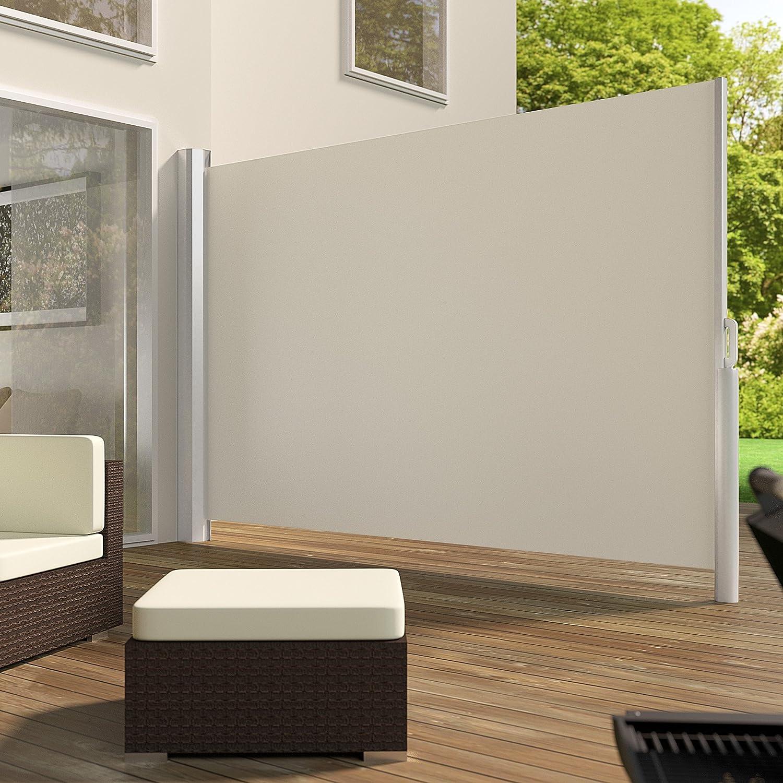 TecTake Toldo Lateral de Aluminio Separador retráctil terraza protección De Vivienda y de Base Postes Completo de Aluminio Varias tamaños - (Beige | 200x300cm | no. 401532): Amazon.es: Hogar
