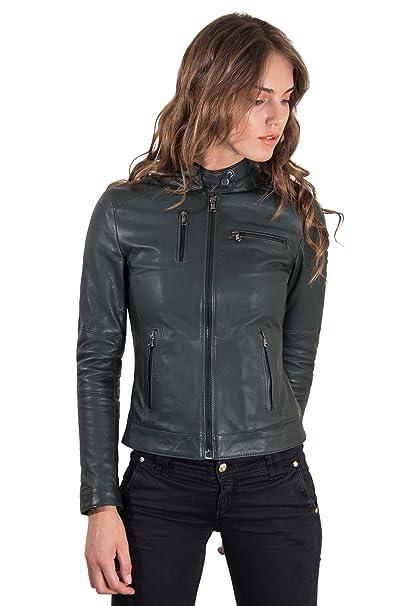 Amazon.com: Giulia Color verde Chaqueta de piel de cordero ...