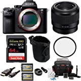 Sony Alpha a7RII Mirrorless Camera Body Bundle FE 50mm f/1.8 Lens, 49mm Lens Filter and Koah Battery Bundle (8 Items)