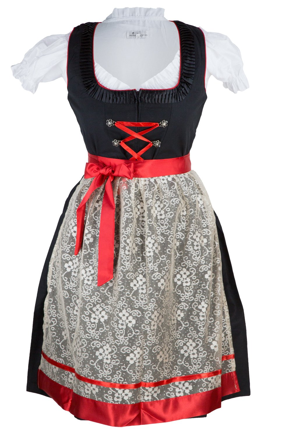 German Dirndl Women Dress in red - Black for Bavarian Oktoberfest Size 8