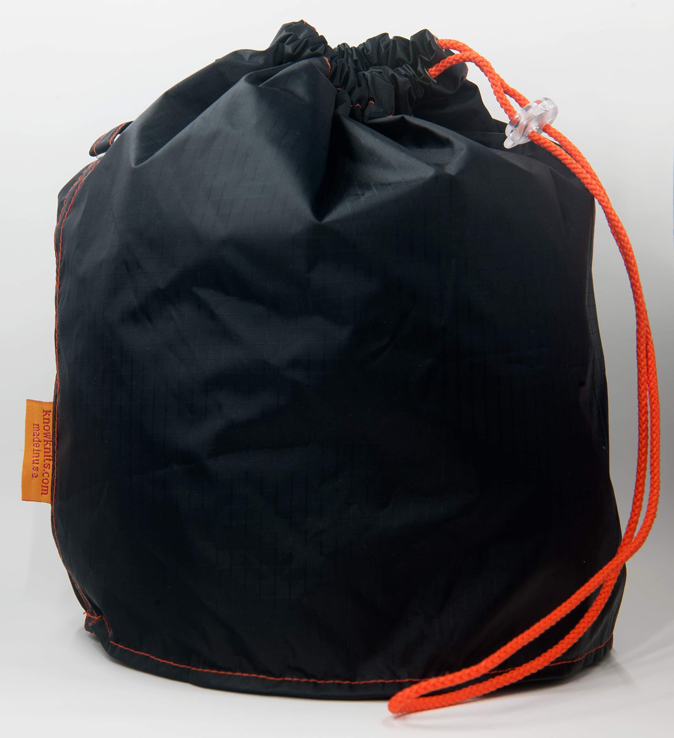 GoKnit Black Nylon Pouch Knitting Project Bag with Loop & Drawstring (Medium)