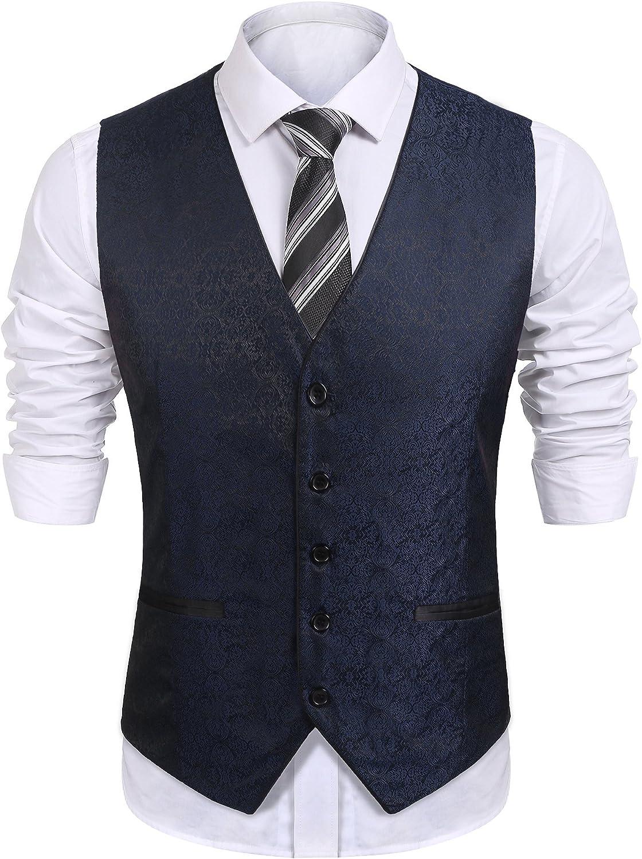 COOFANDY Mens V-Neck Sleeveless Slim Fit Vest,Jacket Business Suit Dress Vest