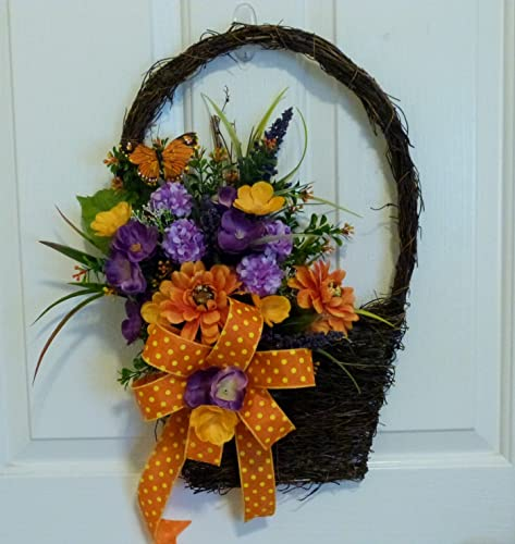 Spring Front Door Wall Basket, Grapevine Wall Basket With Flowers, Silk  Flower Wall Basket