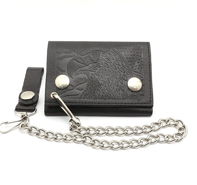 4ce21d63d510 Trifold Black Genuine Leather Biker Chain Wallet Embossed Eagle Head ...