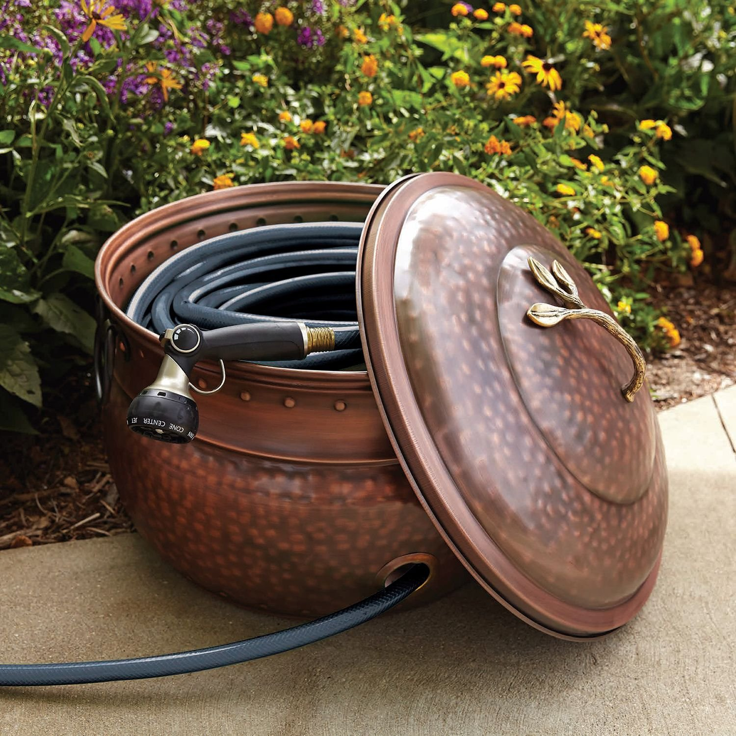 Garden Hose Pot Hider Storage Pots with Lid