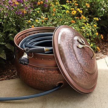 Amazon Com Garden Hose Storage Pot With Lid Garden Outdoor