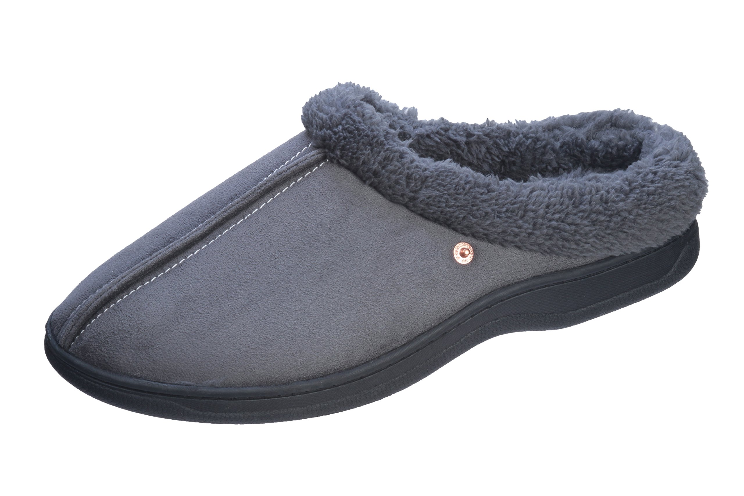 Roxsoni Slipper Indoor/Outdoor With TR Rubber Sole Extra Comfort and Warmth Men's Slippers, Gray, Large / 10-11 D(M) US
