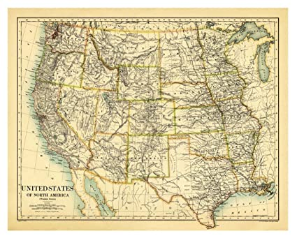 Amazon.com: Western United States, 1887 Vintage USA Map Reproduction ...