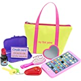 My First Purse for Girls or Boys :: Includes Play Phone and Keys With Sound Effects Plus Mirror, Hairbrush, Wallet, Credit Card, & Pretend Lipstick in Zippered Tote :: Makes a Great Kid's Gift