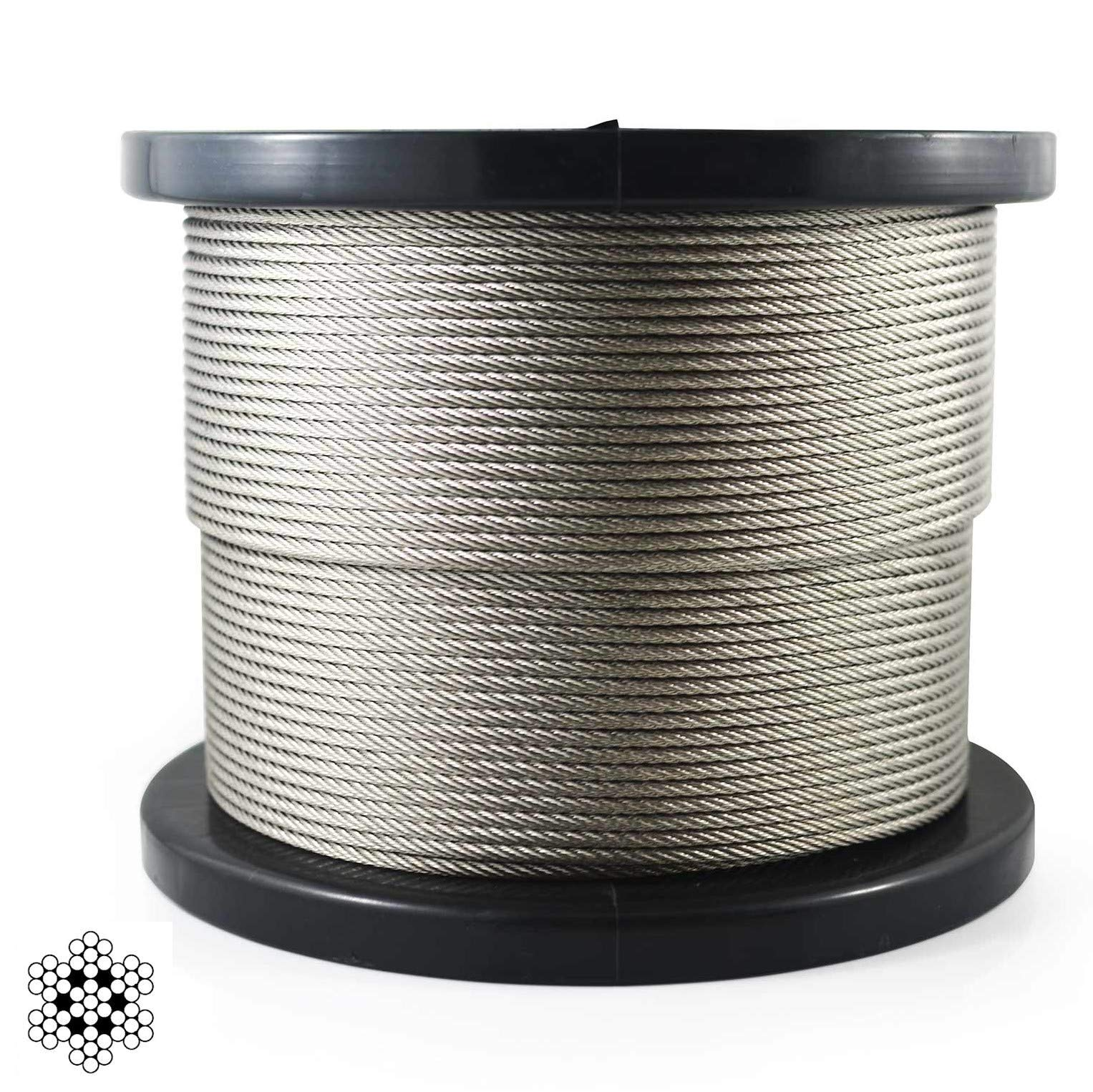 300 ft  1/8 inch Stainless Steel Aircraft Wire Rope   7x7 Deck Cable Railing Cable   300 feet   7X7 T316 Marine Grade by Naviers (Image #1)