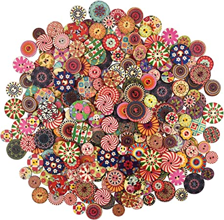 10 Pcs Wooden Buttons Colorful Round Decorative Buttons Mixed Colors Sizes  Retro Resin Button Light Wood Sewing Button Kids Doll Buttons with 10 Holes