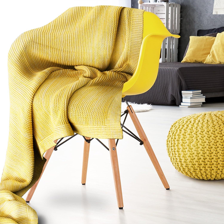 Dreamscene Couvre-lit en Tricot /épais Chaud et /épais pour canap/é-lit Jaune Moutarde Ocre 150 x 180/cm